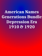 American Names Depression Era [BUNDLE]