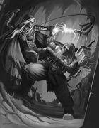 Cover full page - Dark Elf vs Dwarf black & white - RPG Stock Art