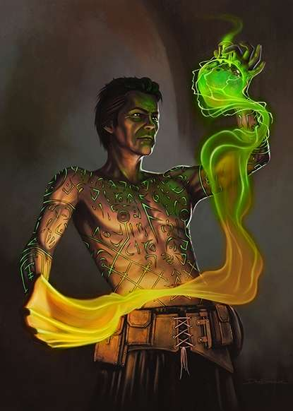 Cover full page - Tattooed Sorcerer - RPG Stock Art