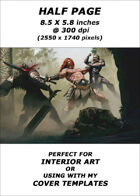 Half page - Barbarian vs Orcs - RPG Stock Art