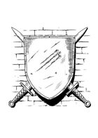 Filler spot - items: shield mounted on wall - RPG Stock Art