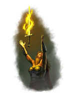 Filler spot colour - character: dwarf and flaming sword - RPG Stock Art