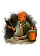 Filler spot colour - character: barkeep reading - RPG Stock Art