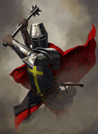 Quarter page - Knight with 2 handed mace - RPG Stock Art
