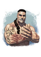 Filler spot colour - character: barbarian with scars - RPG Stock Art