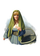 Filler spot colour - character: halfling woman - RPG Stock Art