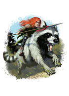 Filler spot colour - character: gnome riding giant raccoon - RPG Stock Art