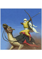 Colour card art - character: camel rider with bow - RPG Stock Art