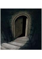 Colour card art - environment: dungeon door open - RPG Stock Art