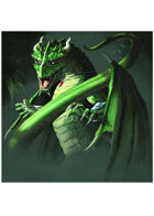 Colour card art - dragon: green infantry - RPG Stock Art