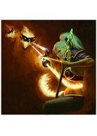 Colour card art - event: mage vs fire elemental - RPG Stock Art