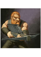 Colour card art - character: dwarf with railbow - RPG Stock Art