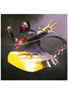Colour card art - character: ninja fire  - RPG Stock Art
