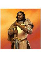 Colour card art - character: aasimar - RPG Stock Art