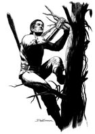 Character ink - druid climbing - RPG Stock Art