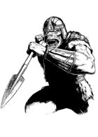 Filler spot - character: orc warrior (old school look) with spear - RPG Stock Art