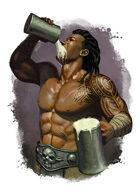 Filler spot colour - character: barbarian drinking - RPG Stock Art