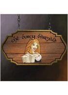 Colour card art - items: tavern sign: the busty barmaid - RPG Stock Art