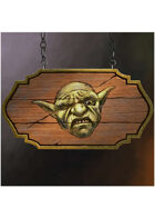 Colour card art - items: tavern sign: the disgruntled goblin- RPG Stock Art