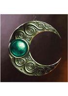 Colour card art - items: amulet: elven moon amulet blue - RPG Stock Art