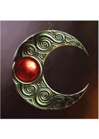 Colour card art - items: amulet: elven moon amulet red - RPG Stock Art