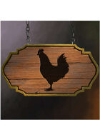 Colour card art - items: tavern sign: le coquelet noir - RPG Stock Art