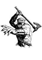 Filler spot - character: orc warrior (old school look) with axe - RPG Stock Art