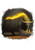 Filler spot colour - creature: flaming gorgon yak - RPG Stock Art