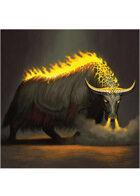 Colour card art - creature: flaming gorgon yak - RPG Stock Art