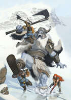 Cover full page - Dwarves VS Frost Giant - RPG Stock Art