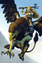 Quarter page - dwarven griffin rider - RPG Stock Art