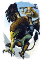 Filler spot colour - character: dwarven griffin rider - RPG Stock Art