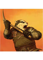 Colour card art - character: humanoid badger with pick - RPG Stock Art