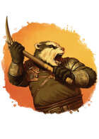 Filler spot colour - character: humanoid badger with pick - RPG Stock Art