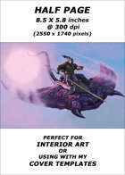 Half page - Hobgoblin riding Fungasaur - RPG Stock Art