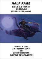Half page - Hobgoblin riding Fungasaur at night - RPG Stock Art
