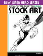 B&W Super Hero Stock Art #8