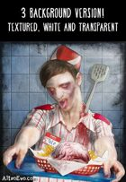 Zombie character, fast food serving dead, 3 background version