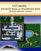 VTT Map Pack:  Dwarven Hall, Wilderness Map, and Assets