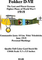 Fokker D-VII Fritz Friedrichs June 1918