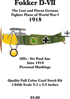 Fokker D-VII Offz-Stv Paul Aue June 1918