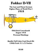 Fokker D-VII Oblt. Erich Lowenhardt Aug. 1918