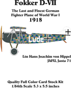 Fokker D-VII set 3 Ltn. Hans Joachim von Hippel