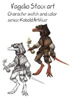Character stock sketch and color series: Kobold Artificer