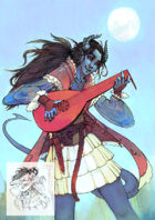 Character stock sketch and color series: Tiefling bard