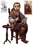 Character stock sketch and color series: Halfling poet