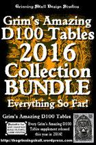 Grim's Amazing D100 Tables Complete 2016 Collection [BUNDLE]