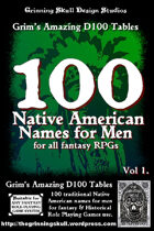 100 Native American Names for Men Volume 1, for all fantasy RPGs