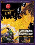 Worlde of Legends™ ADVENTURER SHEET: LITE Fillable PDF - Arts Majika