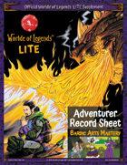 Worlde of Legends™ ADVENTURER SHEET: LITE Fillable PDF - Bardic Arts